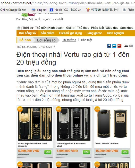 Điện thoại Vertu Singapore nhái