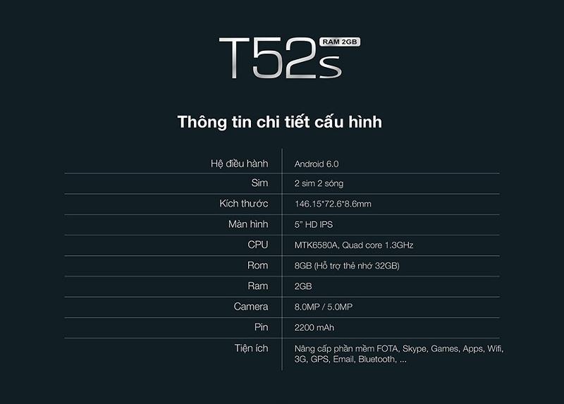 cấu hình chi tiết Smobile t52S