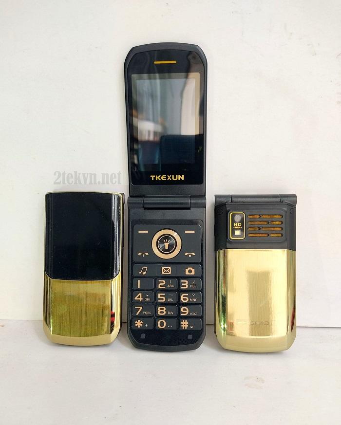 Điện thoại cảm ứng nắp gập TKEXUN vàng