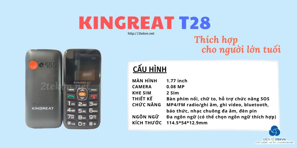 Điện thoại Kingreat T28 sở hữu nhiều chức năng tiện ích
